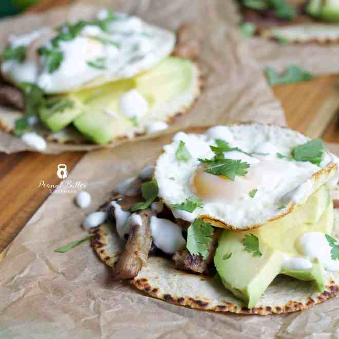 Carnitas Breakfast Tacos with Lime Crema
