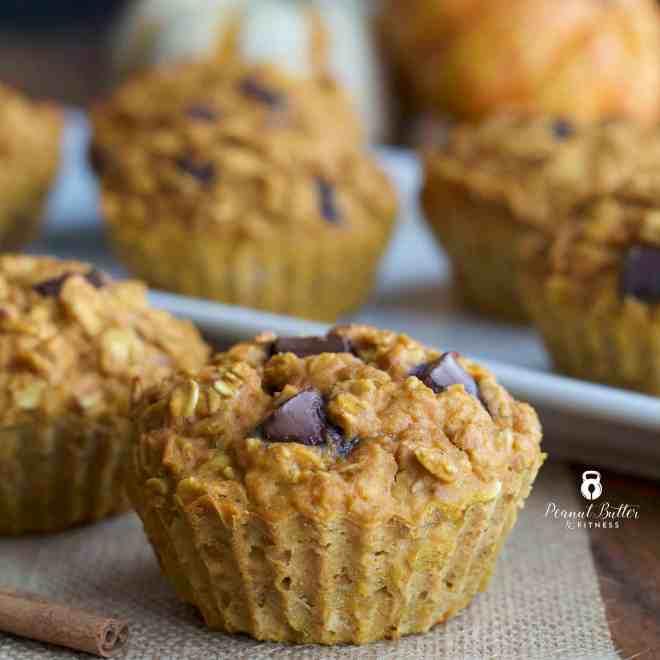 Pumpkin Chocolate Chip Oatmeal Muffins