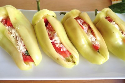 Grilled Gypsy Peppers Stuffed with Tomatoes