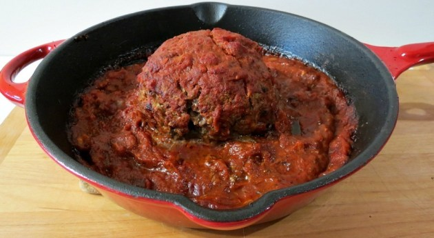 Giant Meatball with Ricotta Cheese