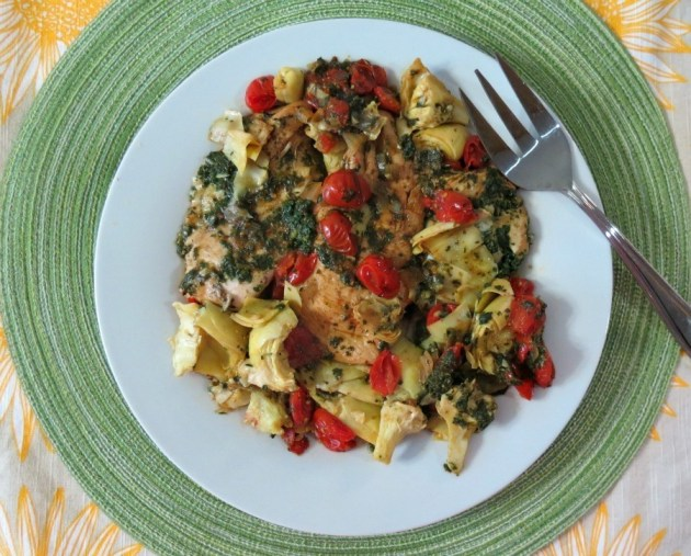 Spinach Pesto Chicken with tomatoes and Artichokes 017a