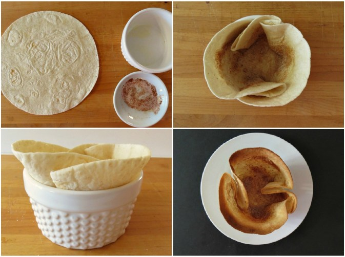Making a cinnamon and sugar tortilla cup