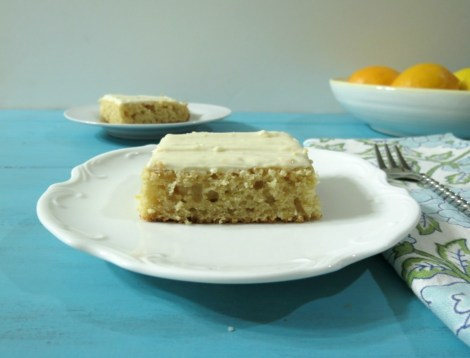 Meyer Lemon Snack Cake with Lemon Cream Cheese Frosting
