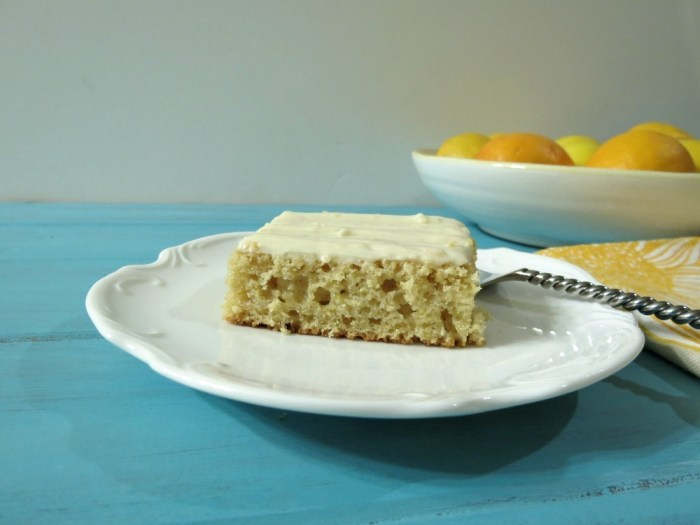 Meyer Lemon Snack Cake with Lemon Cream Cheese Frosting