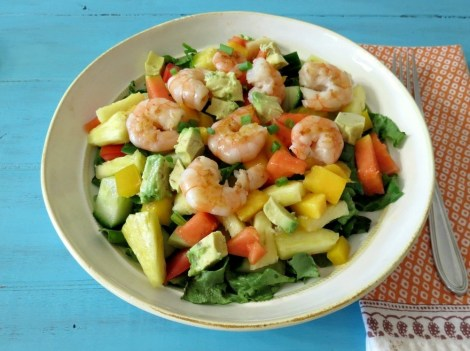 Tropical Shrimp Salad with Pineapple Mango Dressing