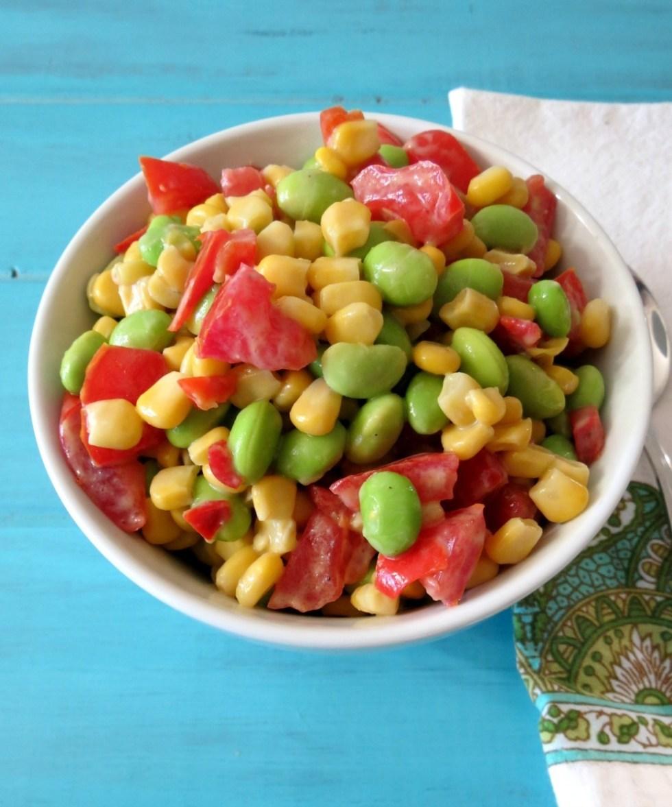 Soycutash Salad with Creamy Avocado Dressing