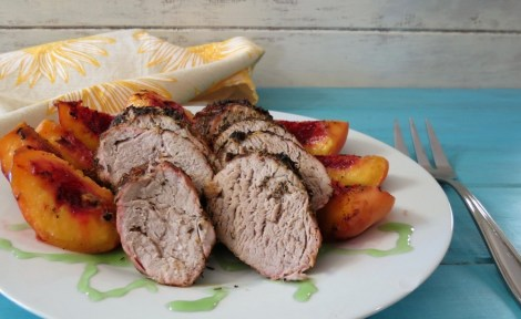 Grilled Herb Pork Tenderloin with Grilled Peaches