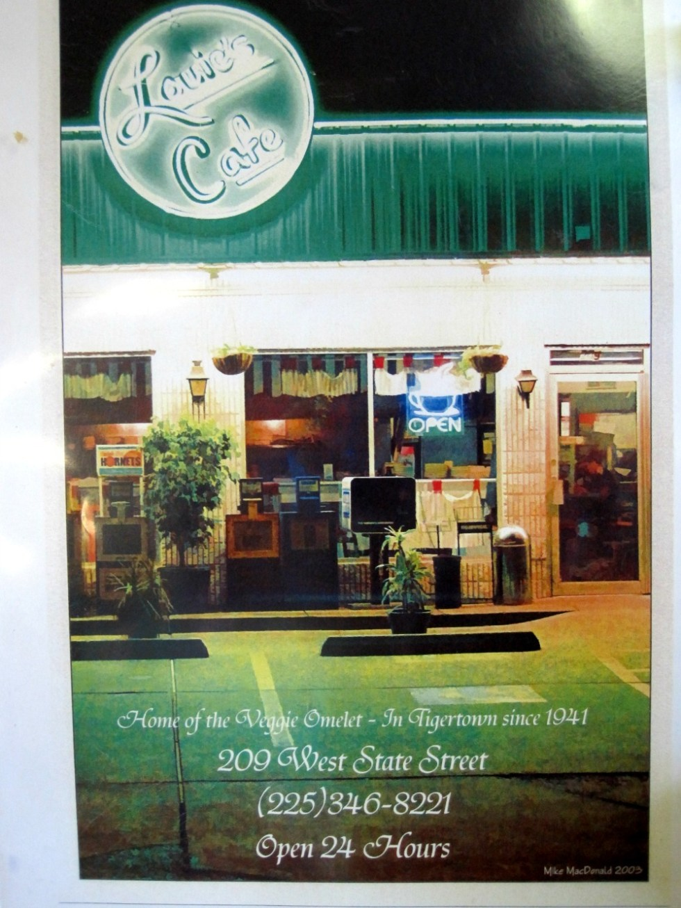 Louie's Cafe Menu Cover