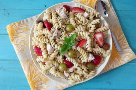 Strawberries and Chicken Pasta Salad