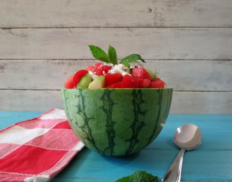 Watermelon, Tomato and Goat Cheese Salad