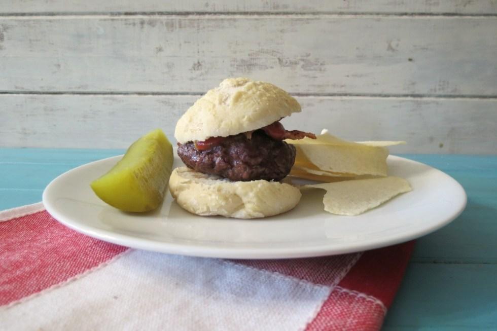 Bacon Burger Sliders on Homemade Rolls