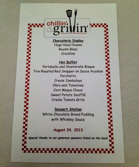 Chillin and Grillin Menu