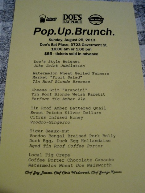 Pop Up Brunch Menu