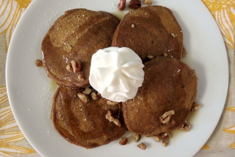 Sweet Potato Pie Pancakes with Bourbon Maple Syrup