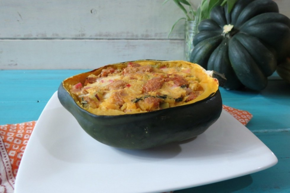 Baked Acorn Squash with Apple and Sausage Stuffing