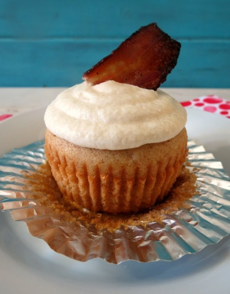 Cinnamon Cupcake with Maple Frosting & Bacon