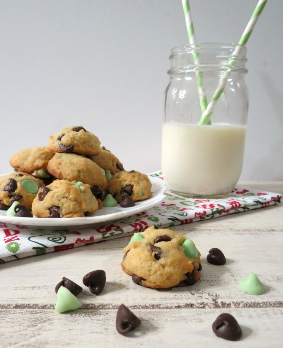 Lightened Up Mint Chocolate Chip Cookies