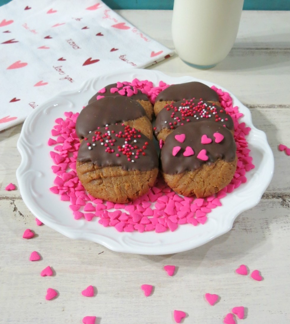 Chocolate Dipped Peanut Butter Cookies (GF)