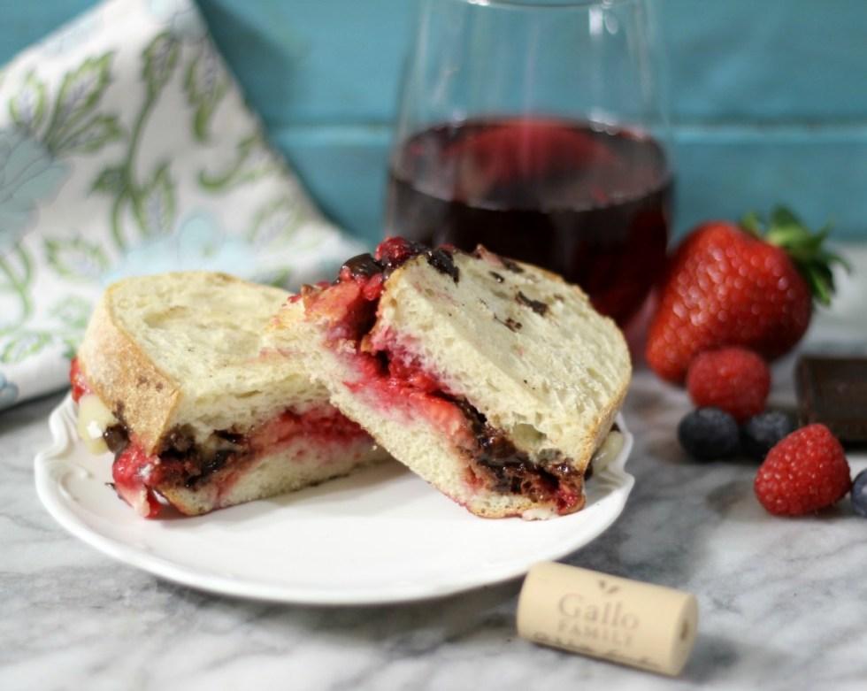 Berry Chocolate Panini Sandwich with Wine Reduction Sauce
