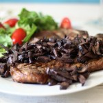Pinot Noir Mushroom Reduction Sauce with Grilled T-Bone Steak #SundaySupper
