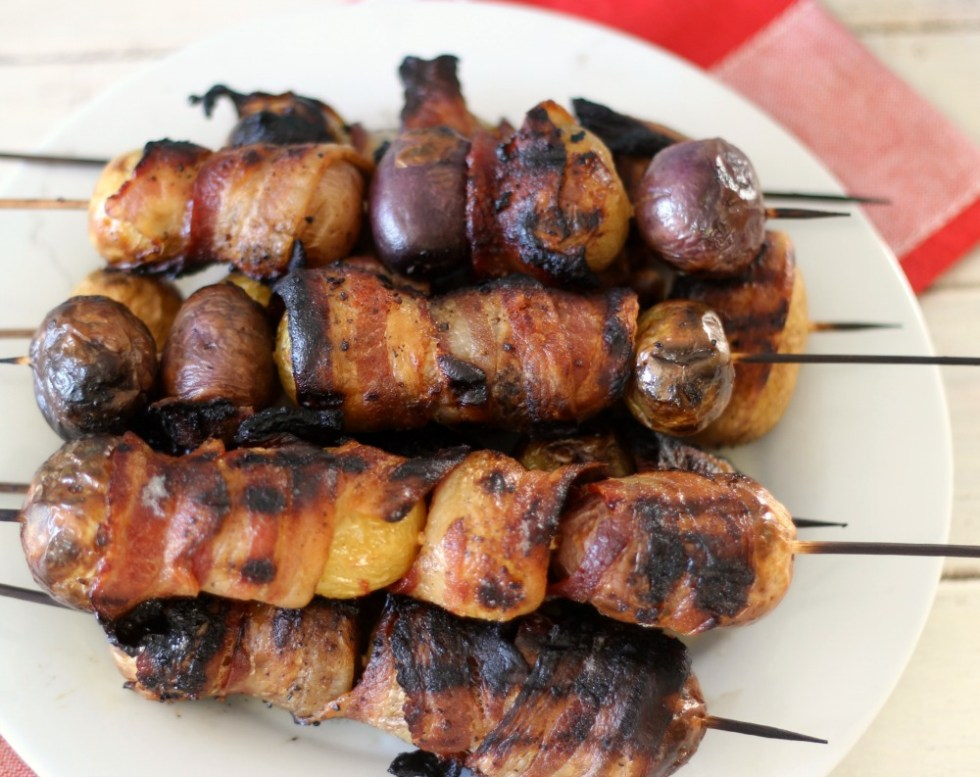 Grilled Candied Bacon Wrapped Potatoes