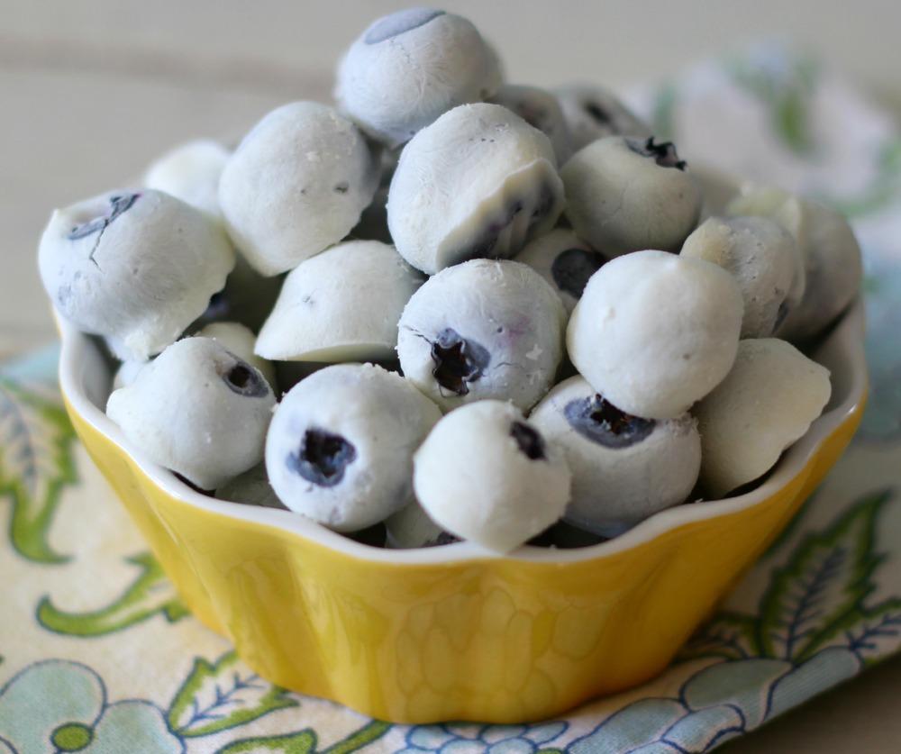 Frozen Yogurt Covered Blueberries #SundaySupper - PB + P Design