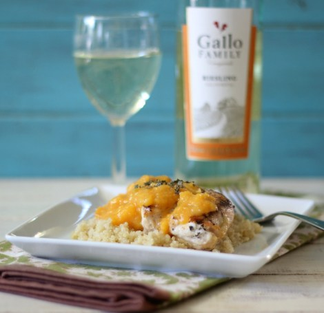 Peach Mango Grilled Chicken over Quinoa #SundaySupper