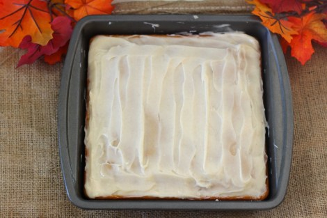 Pumpkin Snack Cake with Cream Cheese Frosting #SundaySupper
