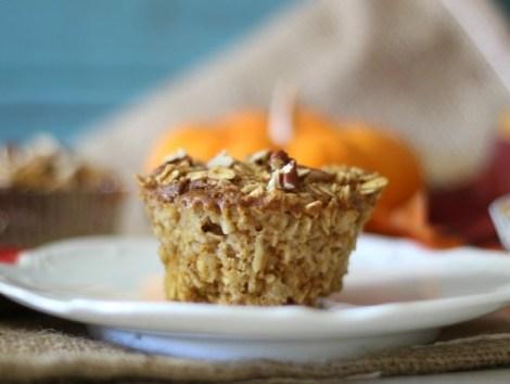 Individual Baked Pumpkin Pie Oatmeal Cups #SundaySupper