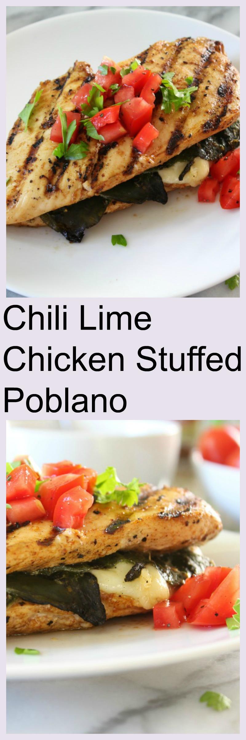 Chili Lime Chicken Stuffed Poblano