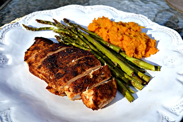 This Spiced Chicken is a fast and different variation to try for a different spin on chicken. You make a quick homemade spice rub, brown it in a skillet and then finish it in the oven. It's best with bone-in, skin on chicken but works as a quick rub for boneless, skinless breasts as well.