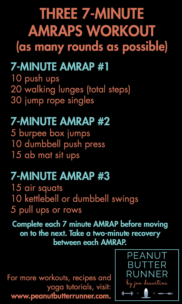 A 25-minute high intensity AMRAP workout for total body cardio and strength training.