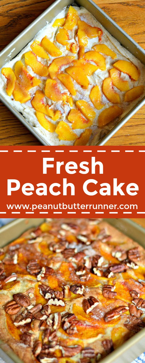 This Fresh Peach Cake is delicious served as a breakfast cake or for dessert alongside ice cream or whipped cream. Perfect for summer peach season.