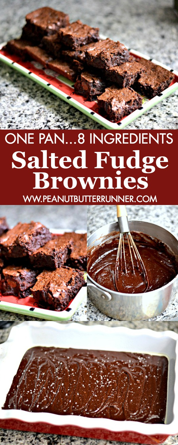 These Salted Fudge Brownies feature just 8 ingredients and are made in one pan. Intense chocolate flavor and perfect balance of sweet and salty. If you love super chewy and fudge-like brownies with crisp edges, this recipe is for you!