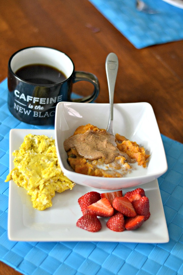 Scrambled Eggs, Fruit and Sweet Potato Breakfast Bowls