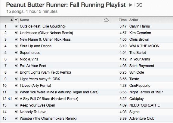 Fall Running Playlist Peanut Butter Runner