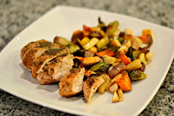 chicken and roasted veggies