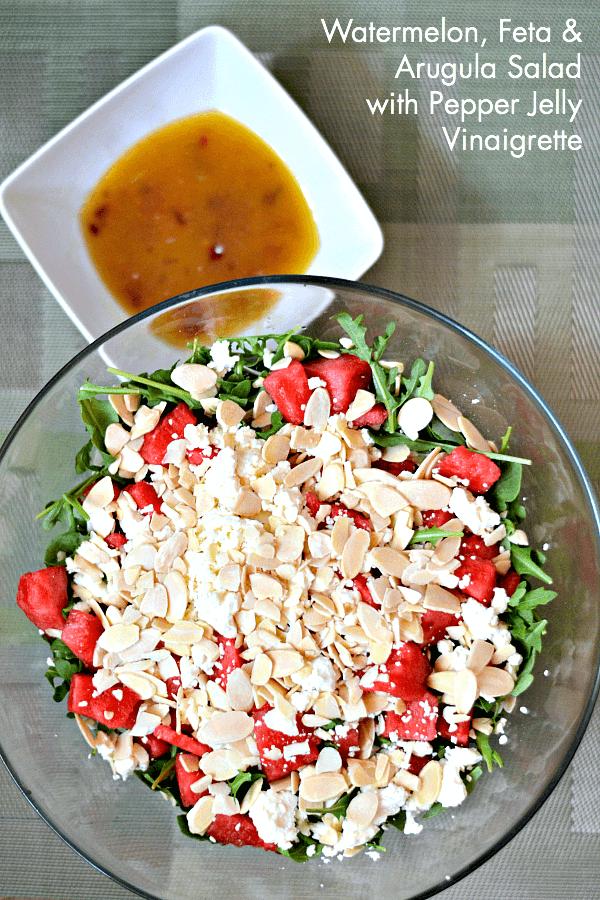 Watermelon Salad with Pepper Jelly Vinaigrette