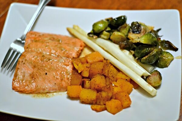 maple dijon baked salmon with roasted butternut squash white asparagus