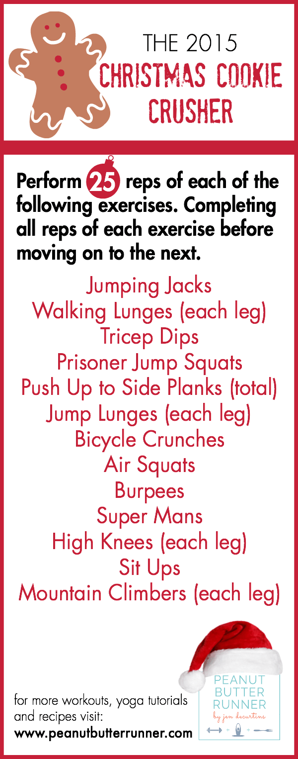 A total body workout to combat those Christmas cookies that features bodyweight exercises that can be done anywhere!