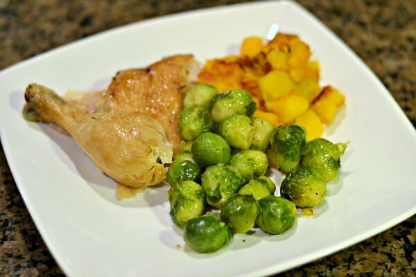Whole30 compliant chicken, brussels sprouts and sauteed butternut squash.