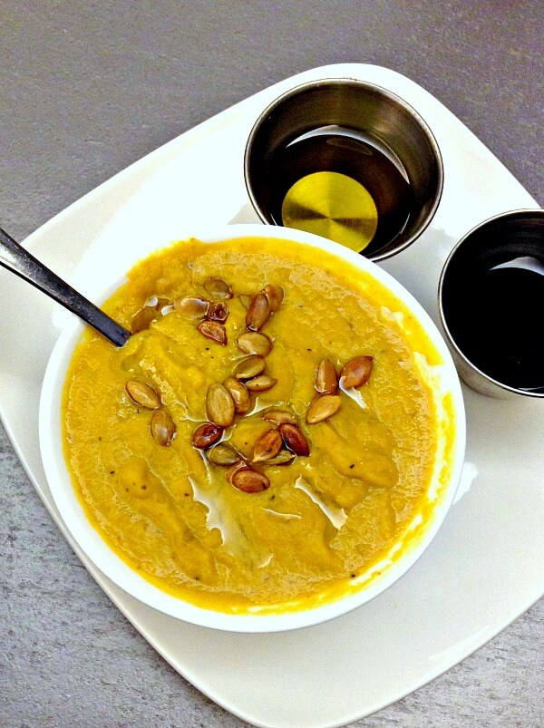 Whole30 compliant butternut squash, sweet potato and apple soup from Y2 cafe in Charlotte