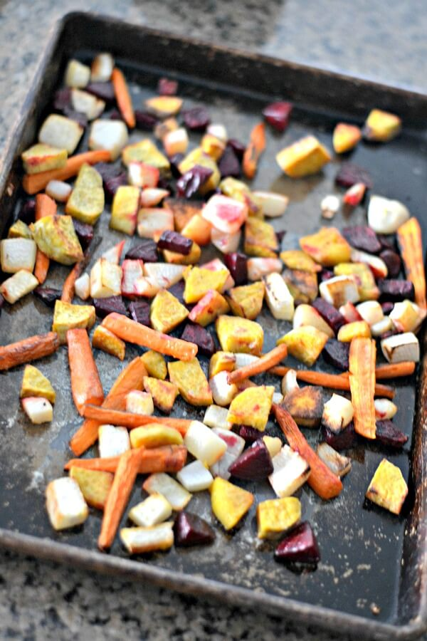 Whole30 compliant roasted root vegetables with sea salt and coconut oil.