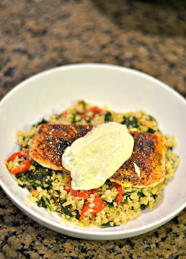 Blue Apron Sumac-Spiced Salmon and Lebneh with Freekeh, Kale and Almond Salad