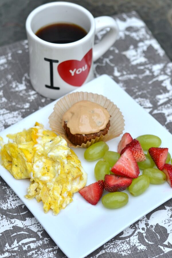 Scrambled Eggs with a Paleo Banana Bread Muffin and Fruit