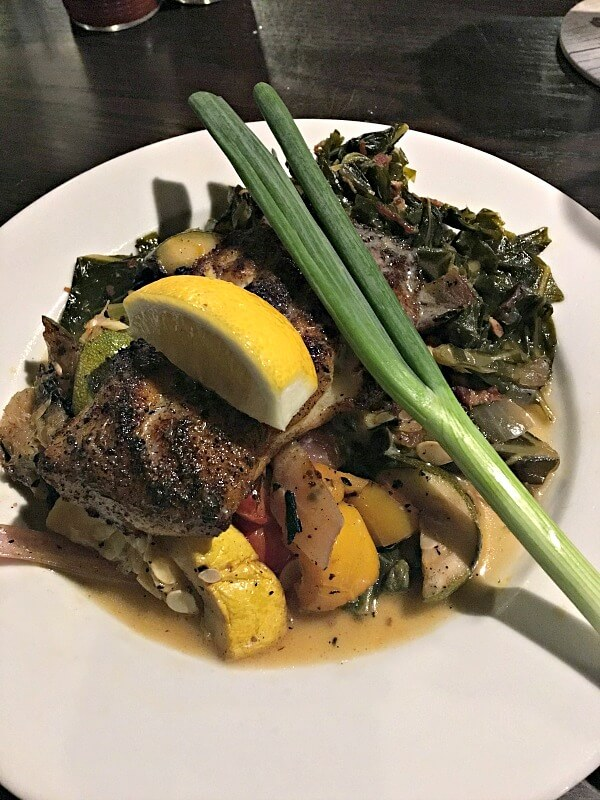 Bronzed grouper with veggies and collards