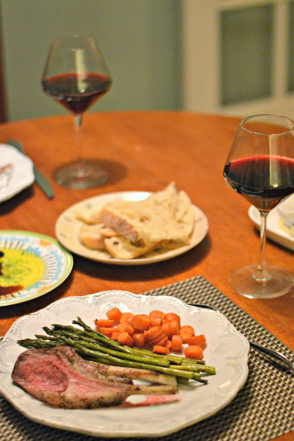 Rack of Lamb with Roasted Asparagus and Roasted Carrots