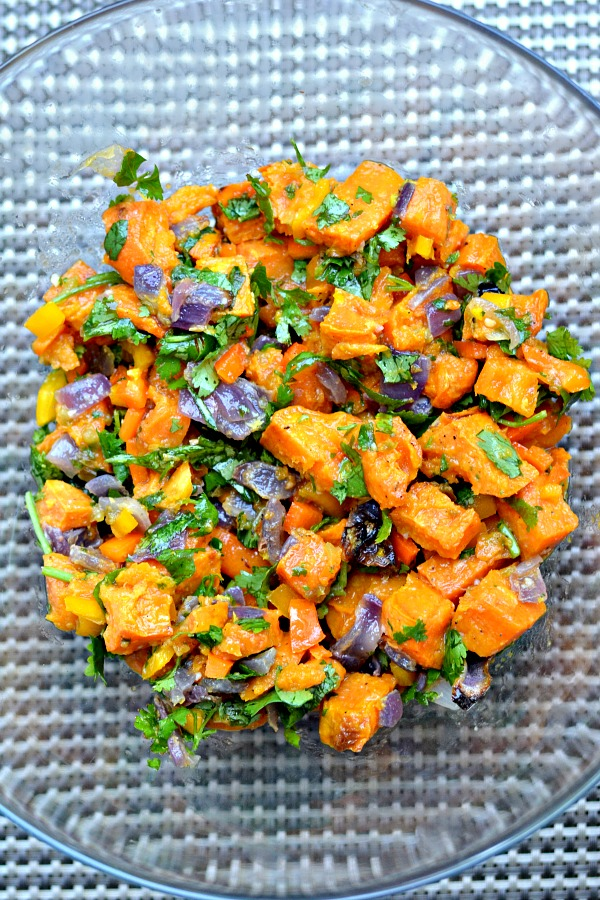 Roasted Sweet Potato Salad with Chili Garlic Vinaigrette