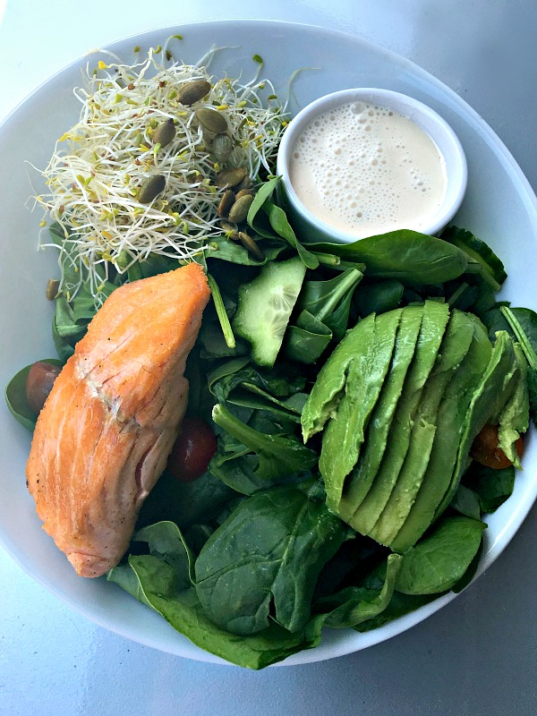 Remix Salad with Salmon at Namastay Kitchen