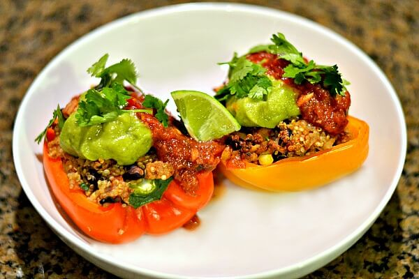 Mexican Quinoa Stuffed Peppers with Guacamole and Salsa